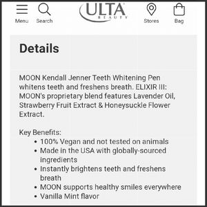 Ulta Beauty Makeup Kendall Jenner Moon Teeth Whitening Pens